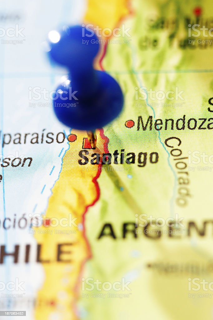 Pushpin Marks Santiago Capital Of Chile On South American Map Stock Photo Download Image Now Istock