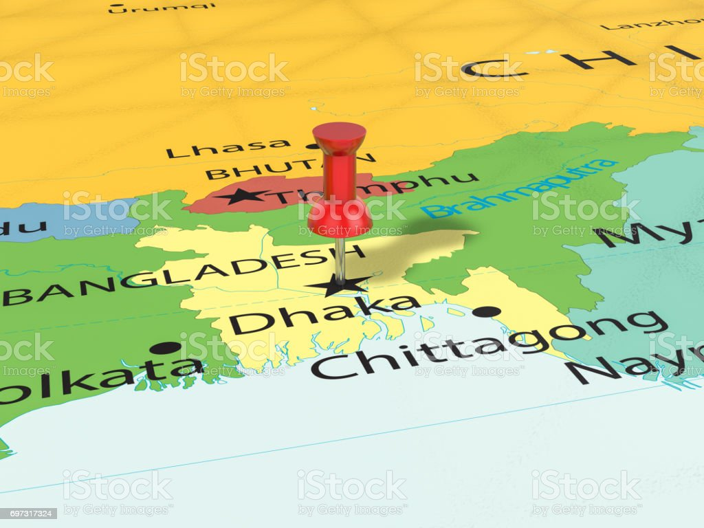 Pushpin On Dhaka Map Stock Photo & More Pictures of Asia - iStock