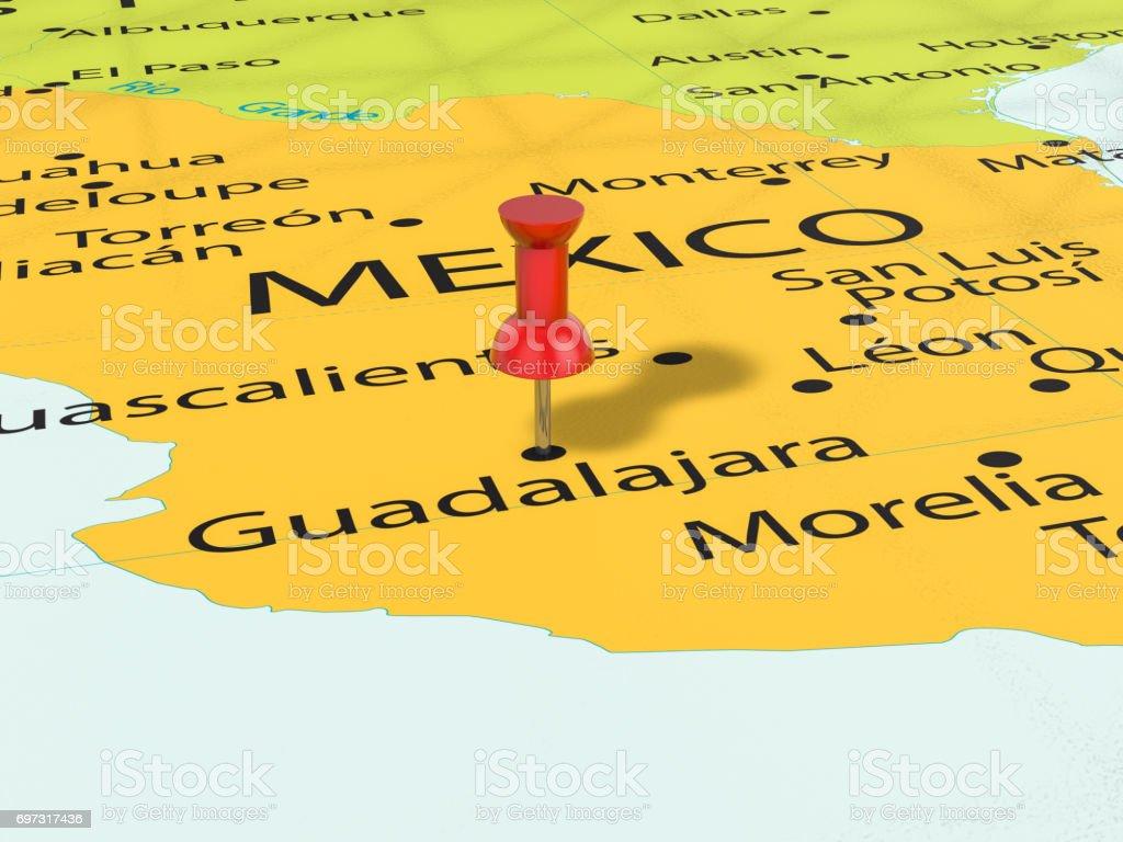 Fotografia De Chincheta En El Mapa De Guadalajara Y Mas Banco De