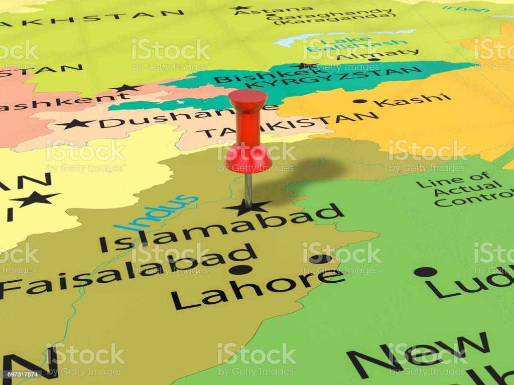 Pushpin on Islamabad map stock photo