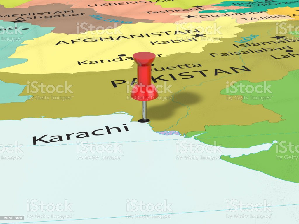 Map Of Asia Karachi.Pushpin On Karachi Map Stock Photo More Pictures Of Asia Istock