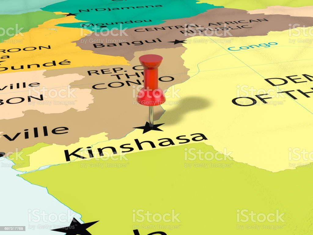 Pushpin On Kinshasa Map Stock Photo - Download Image Now - iStock on abidjan map, brazzaville map, dar es salaam, mogadishu map, timbuktu map, kigali map, cape town, africa map, nairobi map, cape town map, praia map, cairo map, yaounde map, congo river, freetown map, luanda map, leopoldville map, kuala lumpur map, maputo map, malabo map, congo map, addis ababa, kampala map, lagos map,