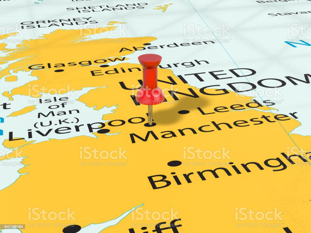 Pushpin on Manchester map stock photo
