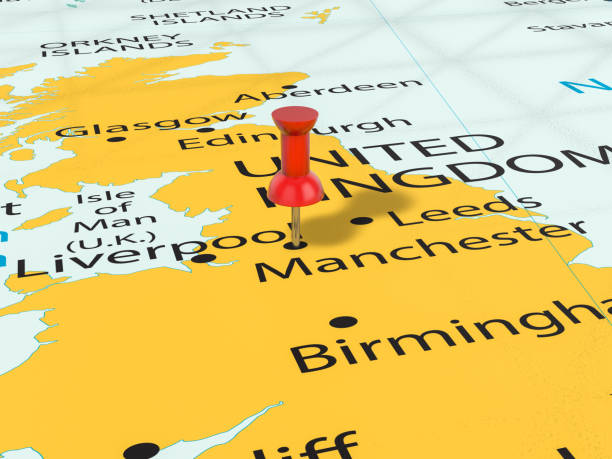 Pushpin on Manchester map Pushpin on Manchester map background. 3d illustration. uk map stock pictures, royalty-free photos & images