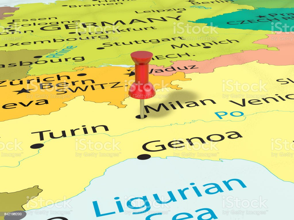 Milan Map Of Italy.Pushpin On Milan Map Stock Photo Download Image Now
