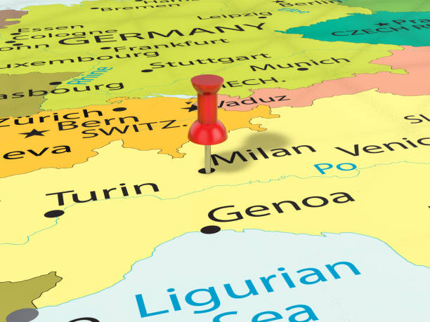 Map Of Italy Milan.Milan Italy Map Italy Thumbtack Stock Photos Pictures Royalty