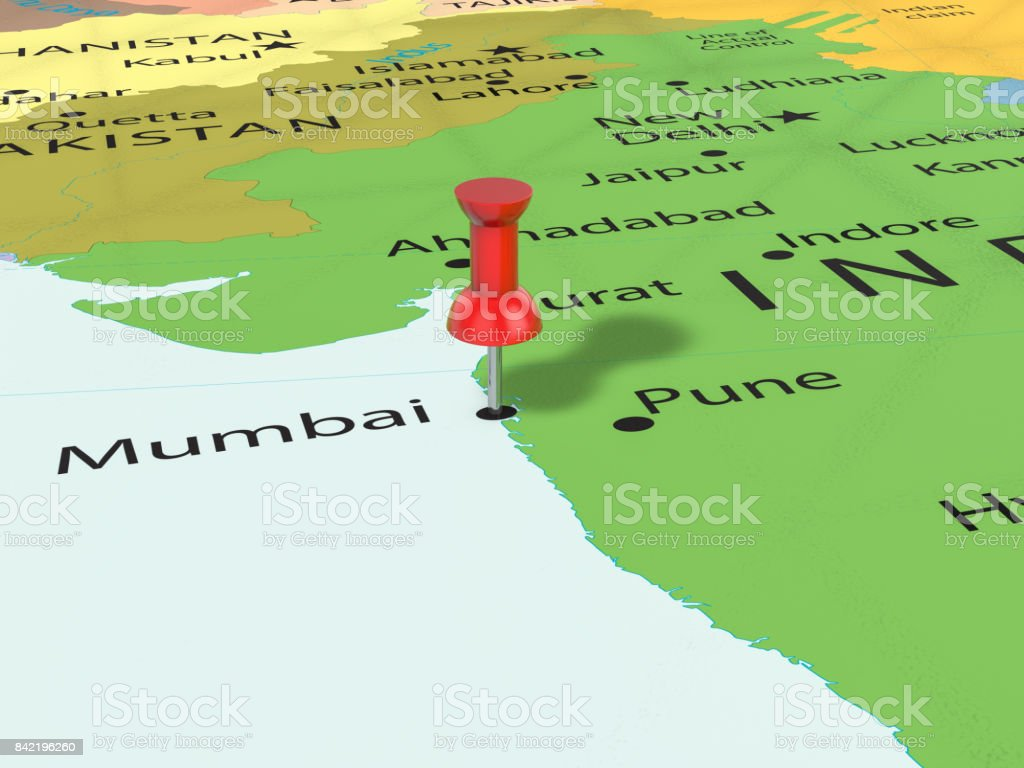 Mumbai On Map Of Asia.Pushpin On Mumbai Map Stock Photo More Pictures Of Asia Istock