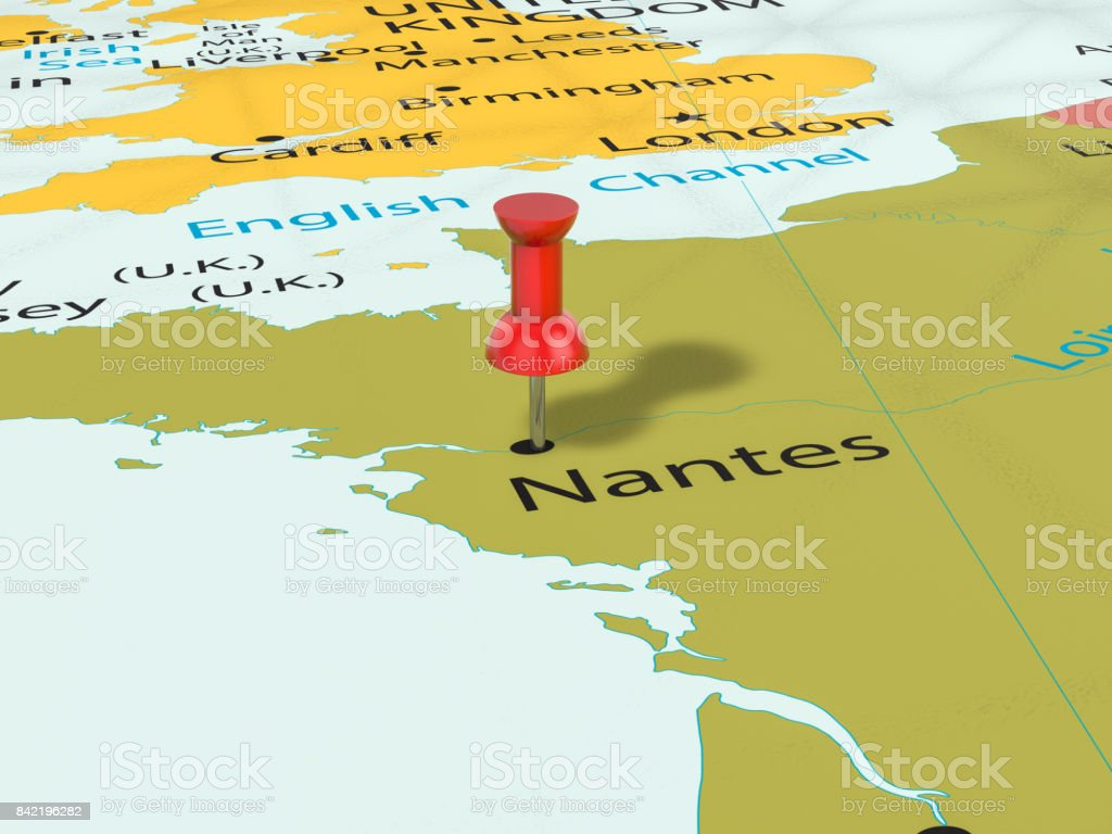 Map Of France Nantes.Pushpin On Nantes Map Stock Photo More Pictures Of Bulgaria Istock