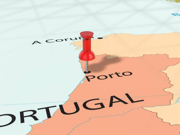 pushpin on porto map - portugal map imagens e fotografias de stock