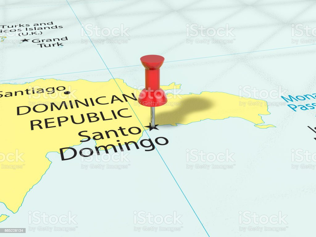Pushpin On Santo Domingo Map Stock Photo More Pictures of
