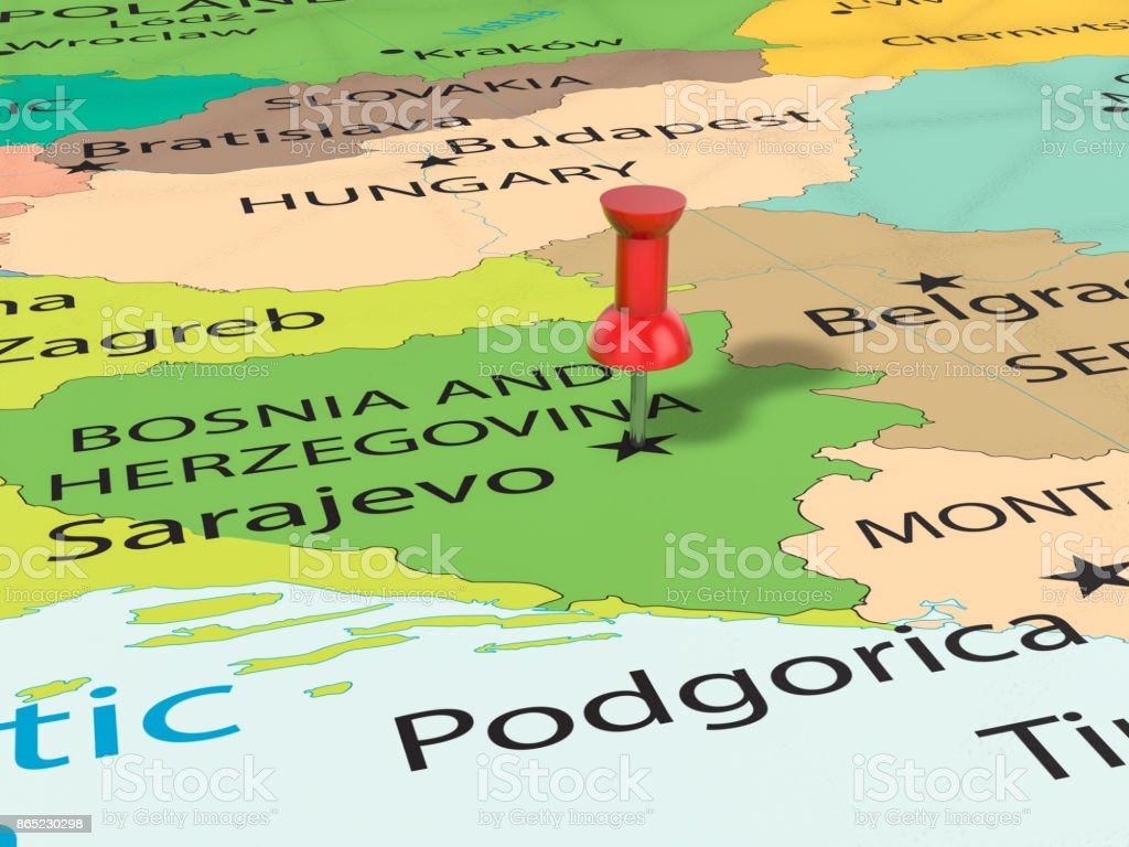 Pushpin On Sarajevo Map Stock Photo More Pictures Of Backgrounds
