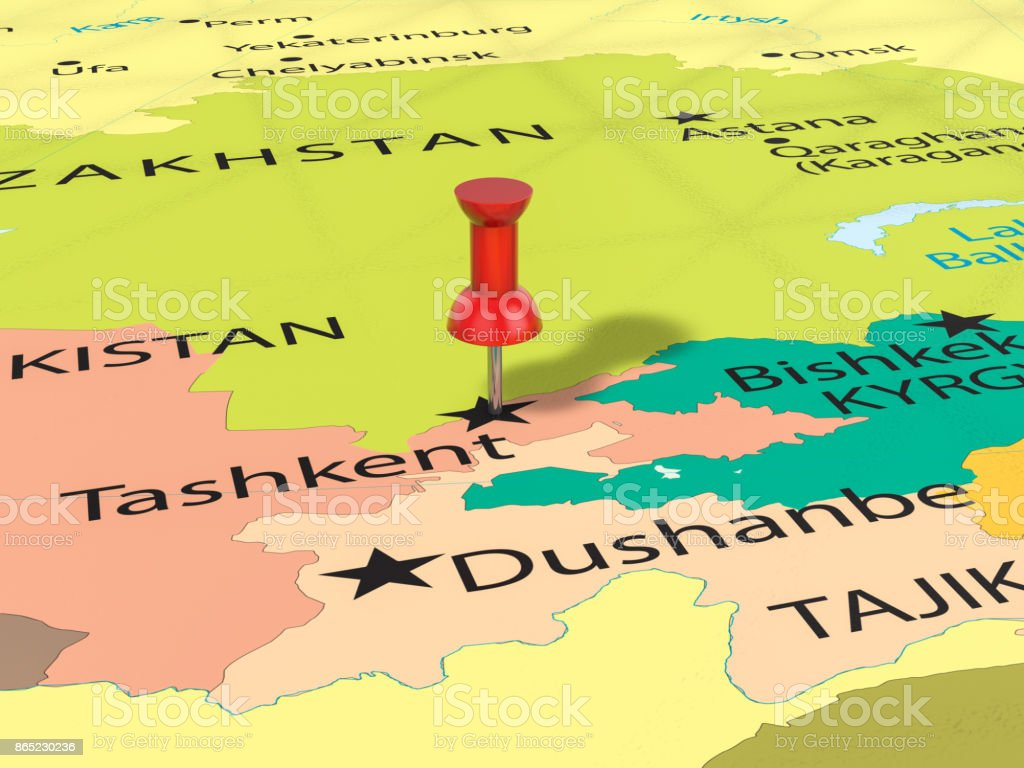 Pushpin On Tashkent Map Stock Photo More Pictures of Asia iStock