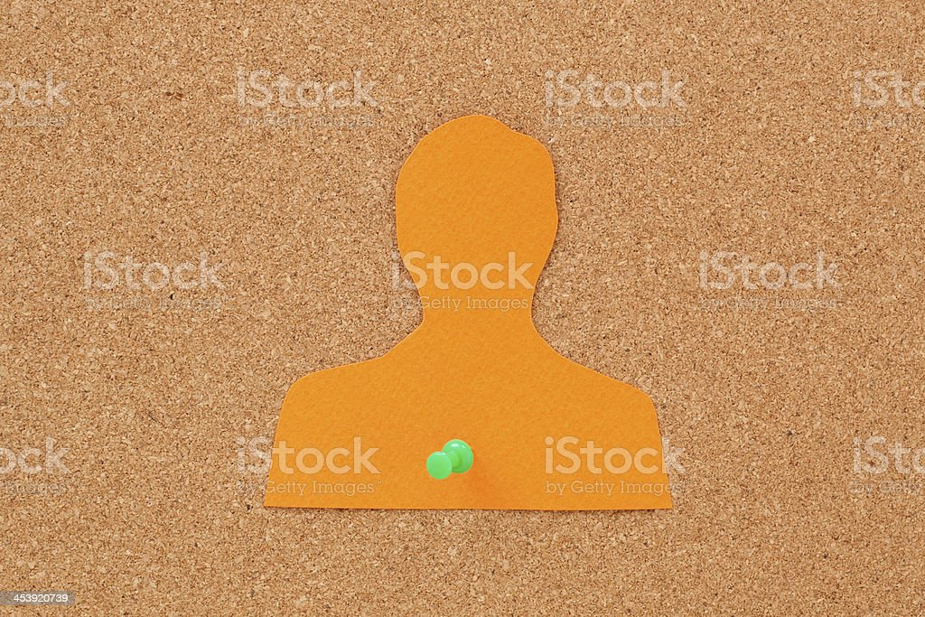 Pushpined man silhouette royalty-free stock photo