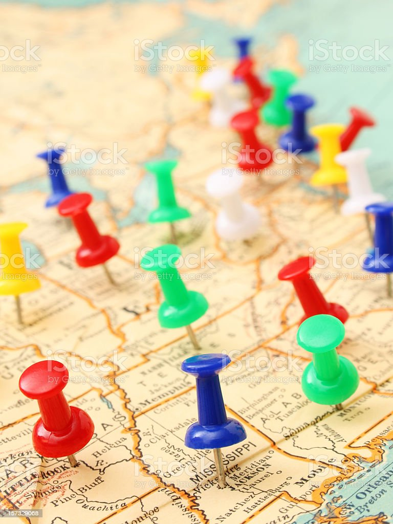 Pushpins in the United States stock photo