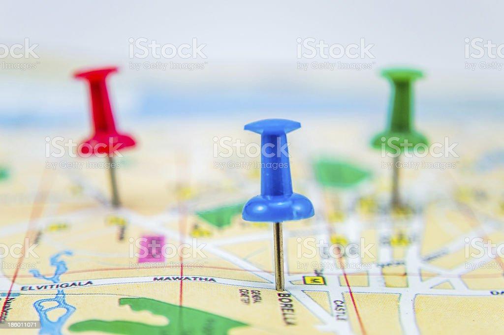 Pushpins on map 4 stock photo