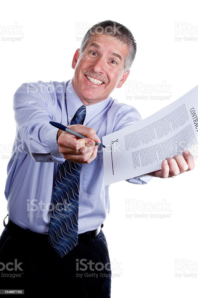 Pushy Salesman with Contract Isolated on White stock photo