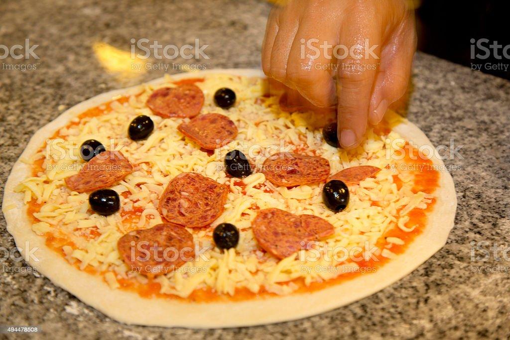 Sie Käse auf einer pizza – Foto
