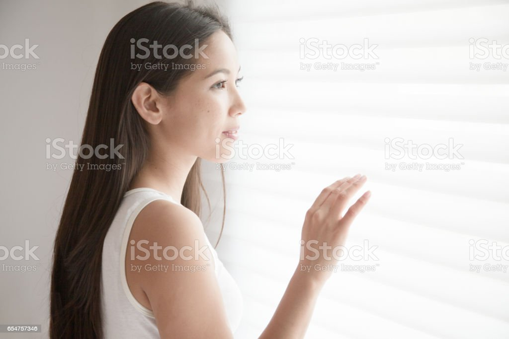 Put one's hand to the blind girl stock photo