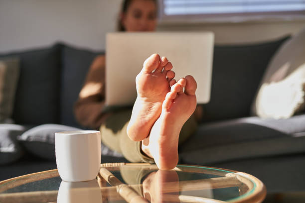 Put your feet up, it's time to relax stock photo