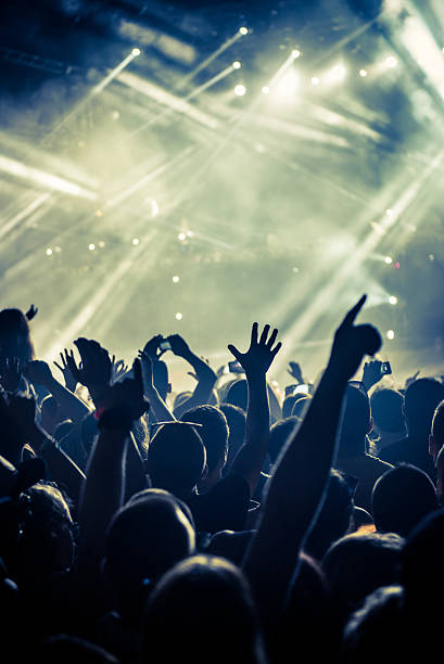 put your hands up in the air! - popular music concert stock photos and pictures