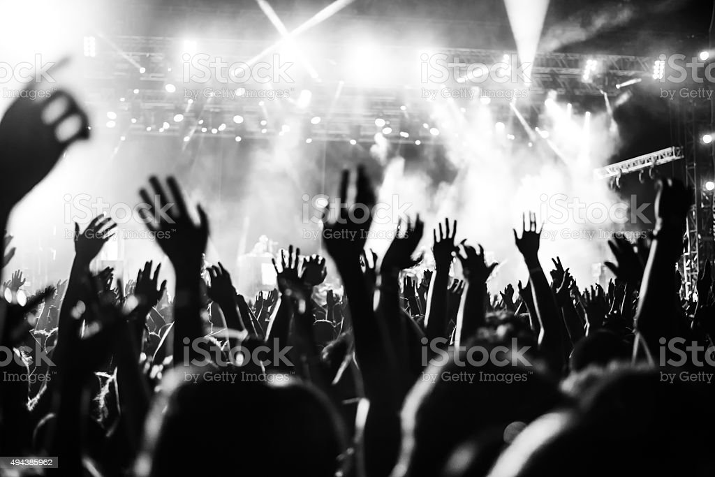 Put your hands up in the air! stock photo