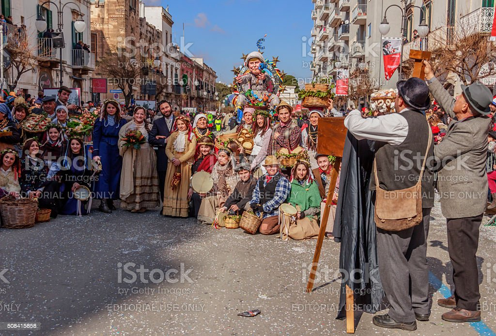Putignano  Carnival: allegorical scene representing peasant life of the past.ITALY stock photo