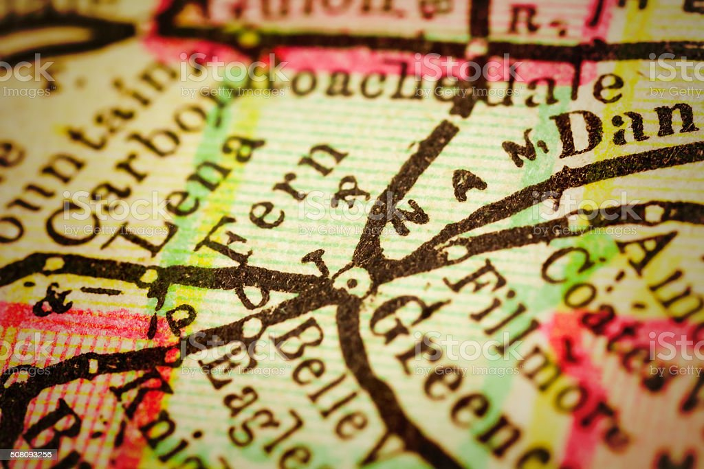 Close up on an antique map of the county of Putnam, state of Indiana....