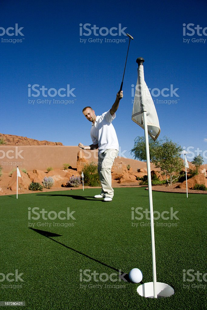 Putt about to go in the Hole royalty-free stock photo