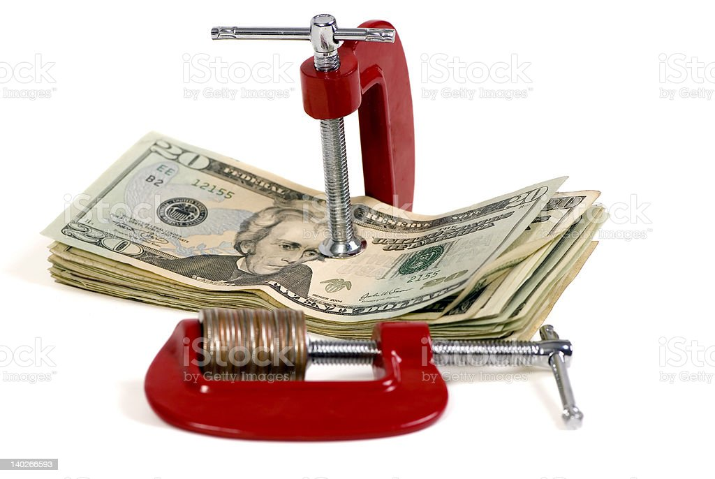 Putting a Squeeze on your Money 2 royalty-free stock photo