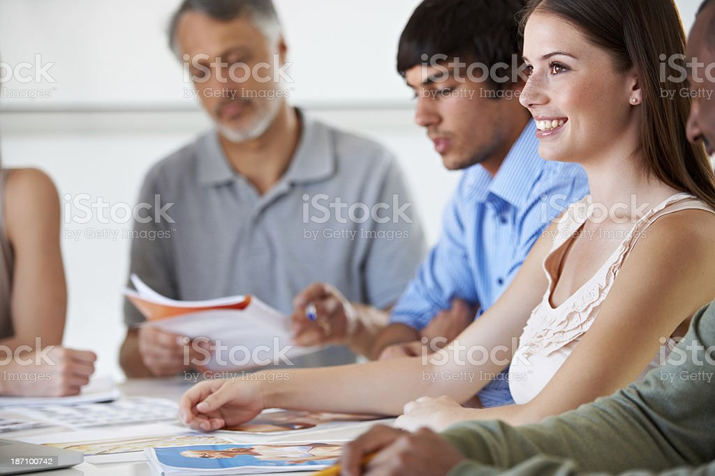 Putting all our ideas together for a great campaign royalty-free stock photo