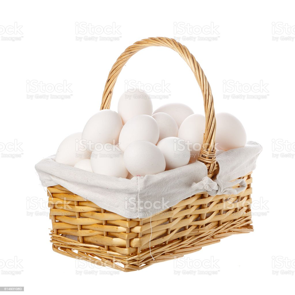 Putting all your eggs in one basket stock photo