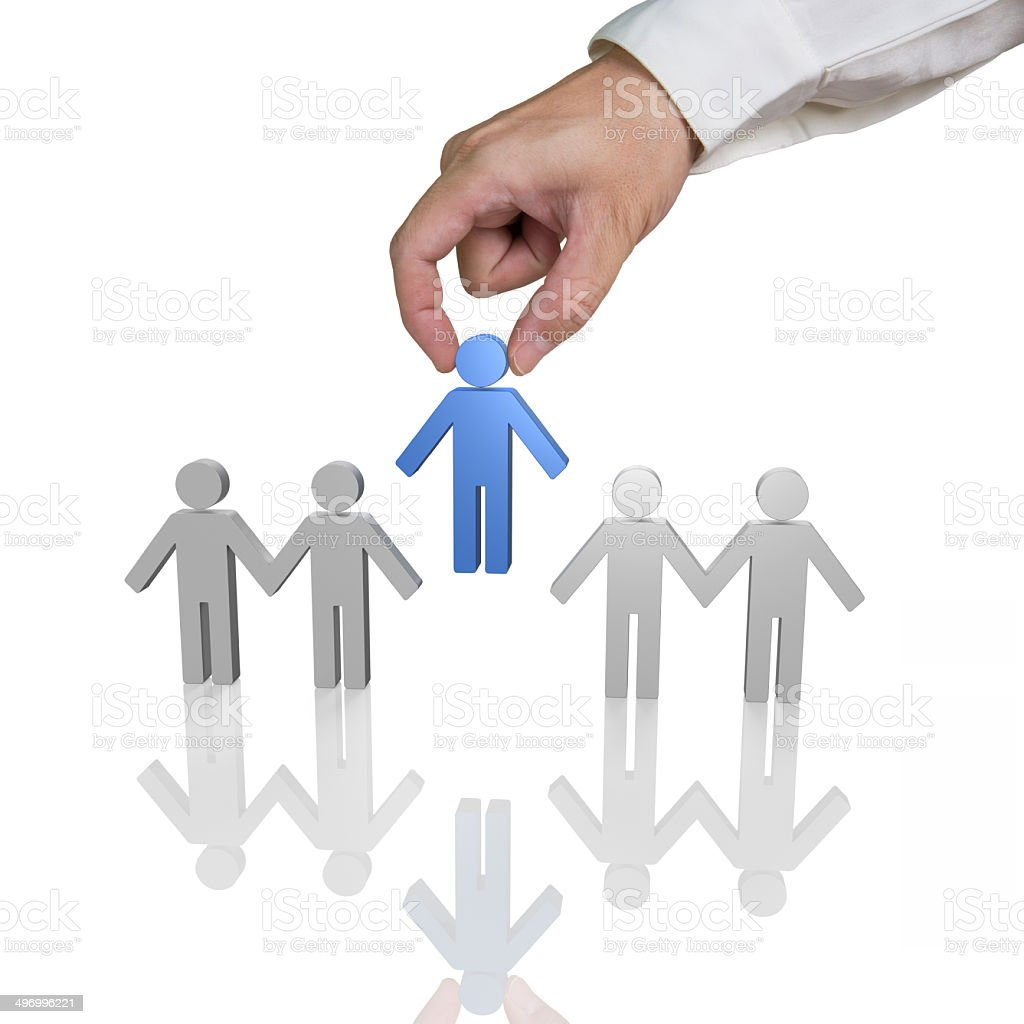 Putting blue 3d people in hand in hand chain royalty-free stock photo