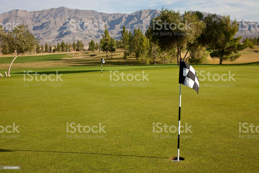 Putting green and practice range on a Nevada early morning.