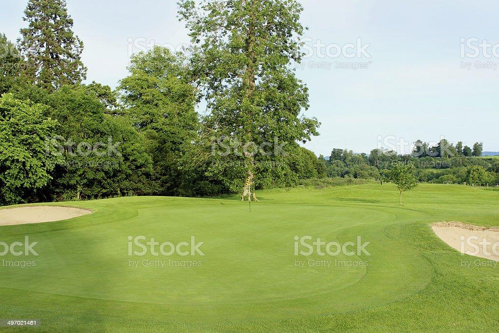Putting Green Feine Gras Bunker Flagge Auf Golfplatz Loch Stock ...