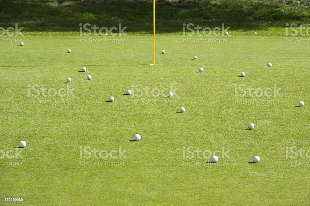 Putting Green Full of Golf Balls royalty-free stock photo