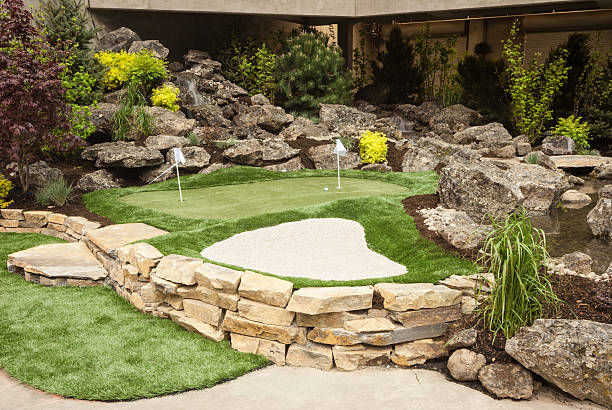 Putting Green with Sand Pit stock photo