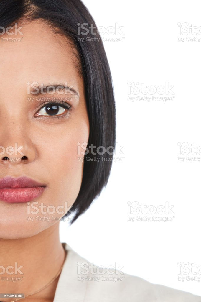 Putting her best face forward stock photo