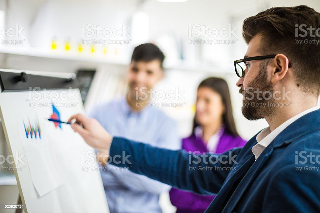 Putting his ideas into prespective stock photo