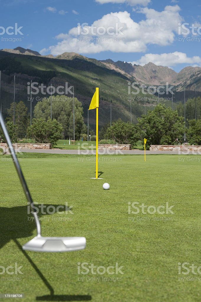 Putting on the Vail Golf Course royalty-free stock photo