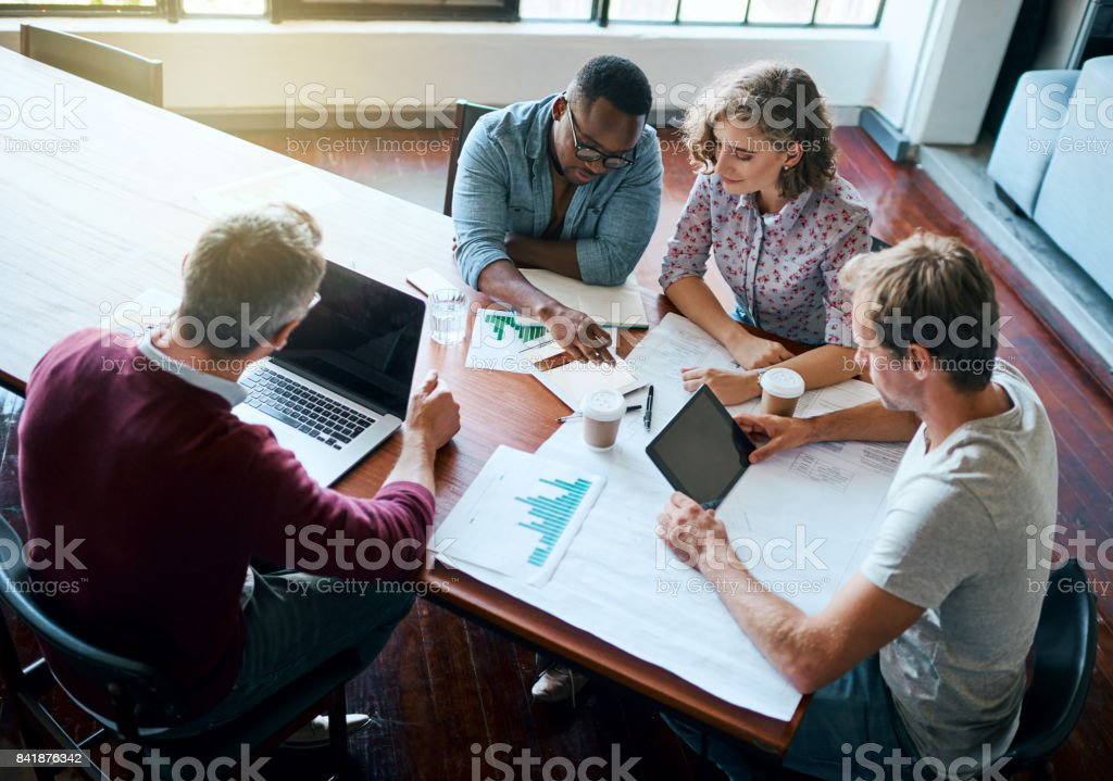 Putting our minds together stock photo