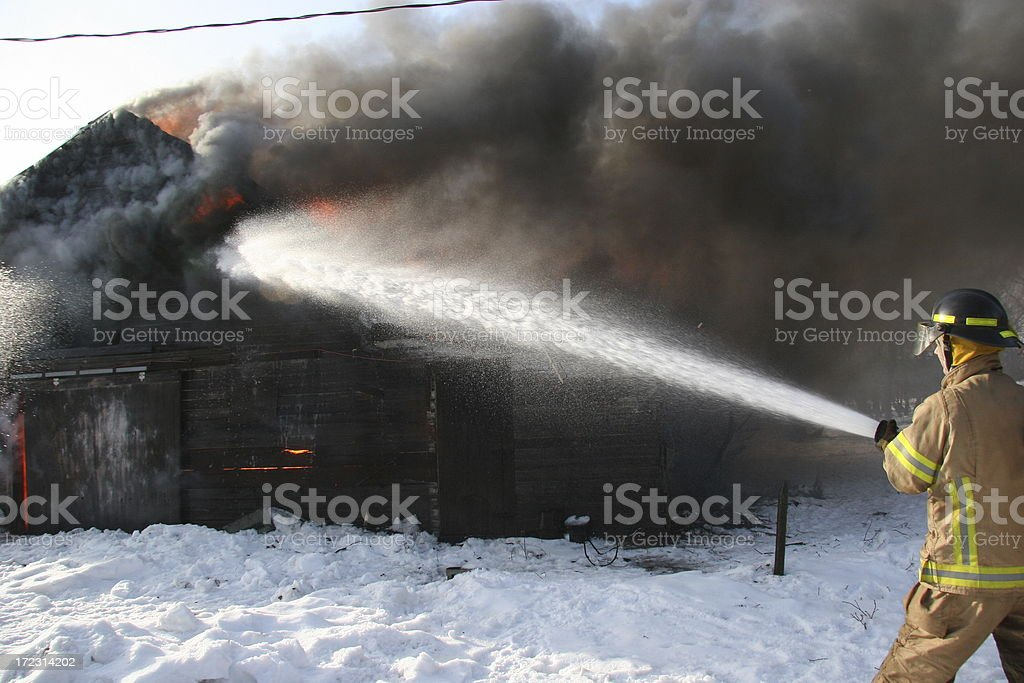 Putting out the fire royalty-free stock photo