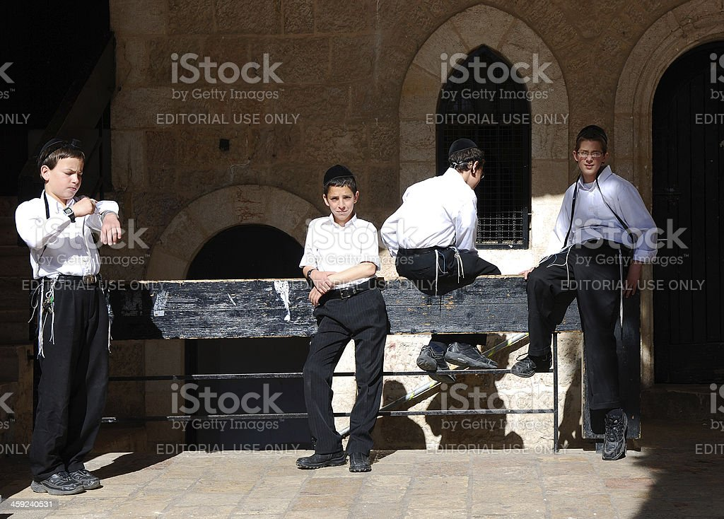 Putting Tefilim in the Morning. stock photo