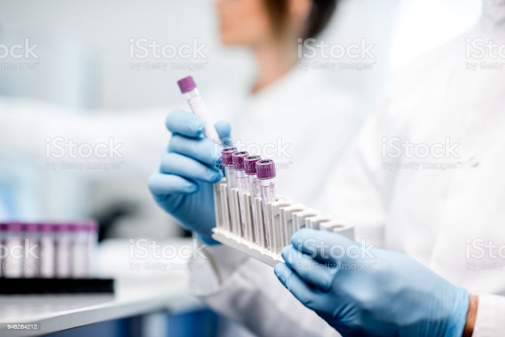 Putting test tubes into the holder stock photo