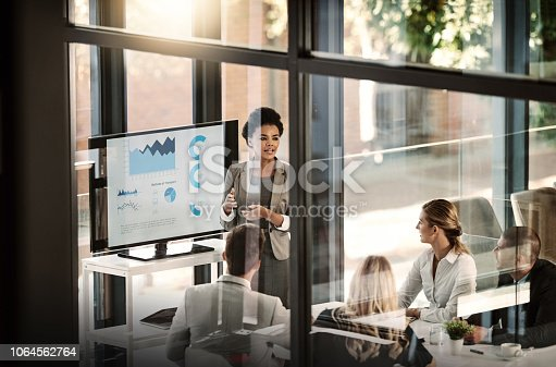 Shot of a businesswoman delivering a presentation to her colleagues in the boardroom