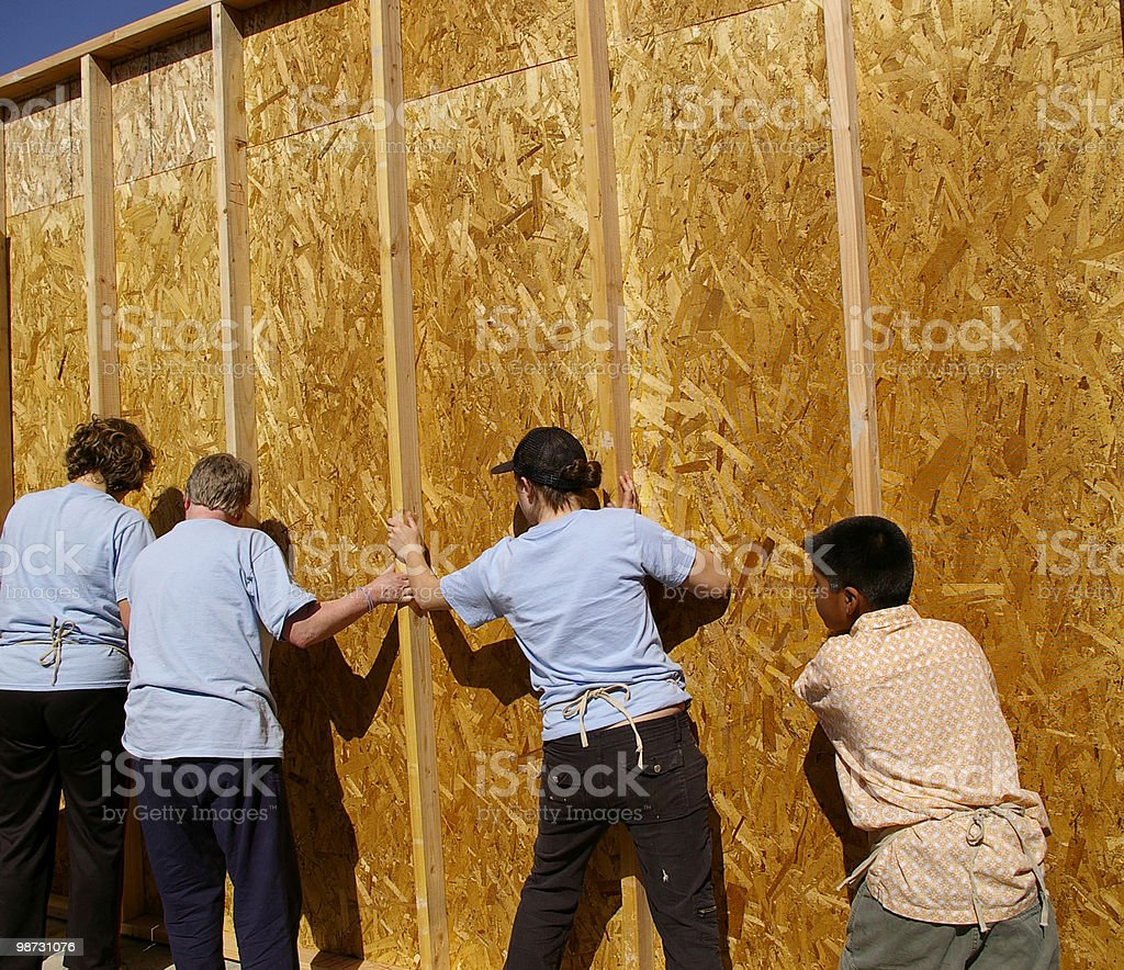 Putting up a Wall royalty-free stock photo