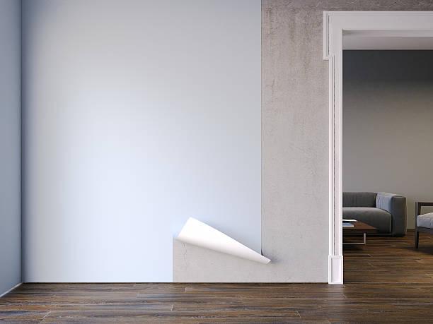 setzen auf tapete im klassischen interieur. 3d-rendering - betonkleber stock-fotos und bilder