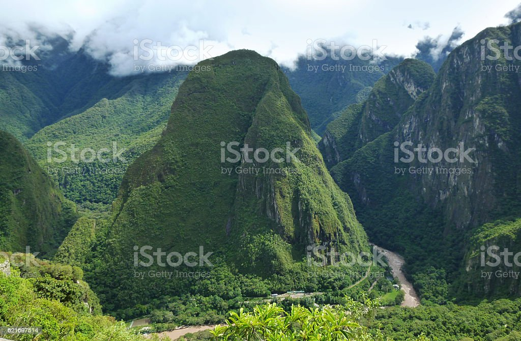 Putucusi mountain viewed from Machu Picchu stock photo