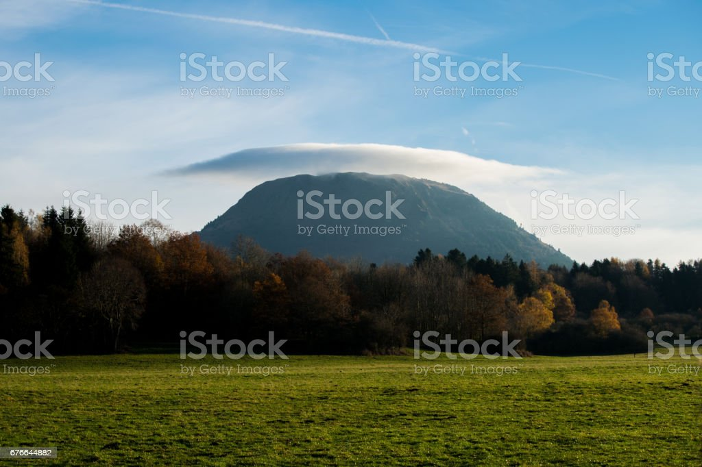 Puy de dôme cloud hat stock photo