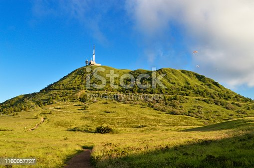 Top of a puy de dome volcano in a national park, in Auvergne, France.