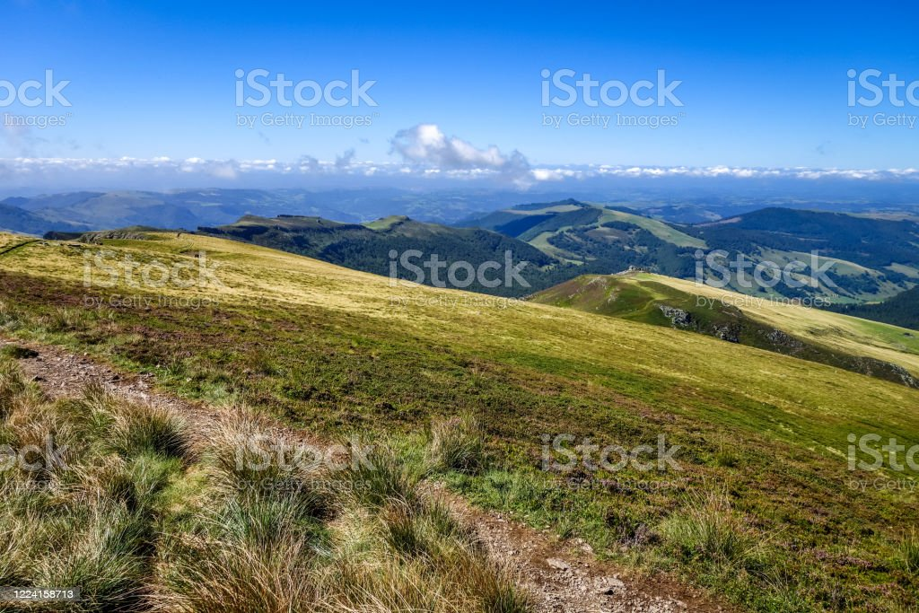 Puy Mary And Chain Of Volcanoes Of Auvergne Cantal France Stock Photo - Download Image Now